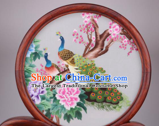 Chinese Traditional Suzhou Embroidery Peacock Peony Desk Folding Screen Embroidered Rosewood Decoration Embroidering Craft