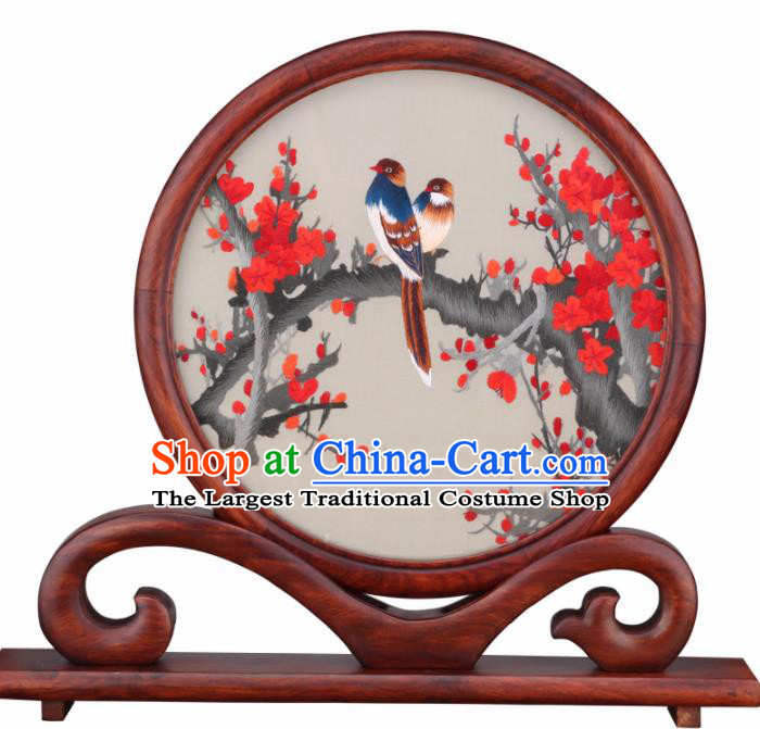 Chinese Traditional Suzhou Embroidery Red Plum Desk Folding Screen Embroidered Rosewood Decoration Embroidering Craft