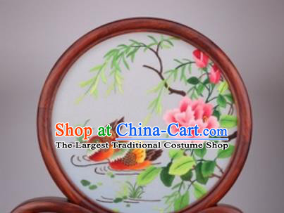 Chinese Traditional Suzhou Embroidery Mandarin Duck Desk Folding Screen Embroidered Rosewood Decoration Embroidering Craft