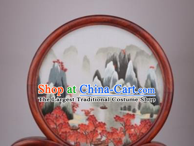 Chinese Traditional Suzhou Embroidery Landscape Desk Folding Screen Embroidered Rosewood Decoration Embroidering Craft
