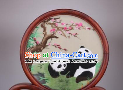 Chinese Traditional Suzhou Embroidery Panda Plum Desk Folding Screen Embroidered Rosewood Decoration Embroidering Craft