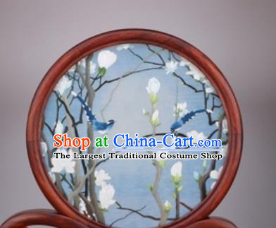 Chinese Traditional Suzhou Embroidery Magnolia Desk Folding Screen Embroidered Rosewood Decoration Embroidering Craft