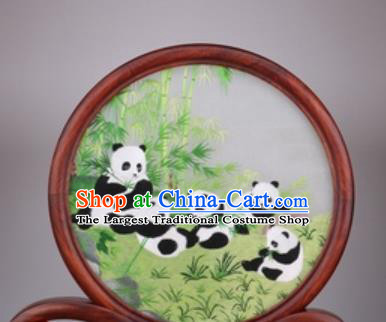 Chinese Traditional Suzhou Embroidery Panda Bamboo Desk Folding Screen Embroidered Rosewood Decoration Embroidering Craft