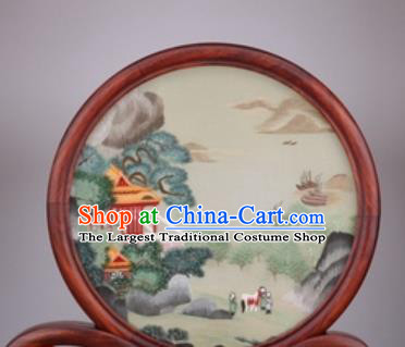 Chinese Traditional Suzhou Embroidery Pavilion Desk Folding Screen Embroidered Rosewood Decoration Embroidering Craft