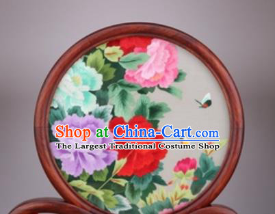 Chinese Traditional Suzhou Embroidery Peony Flowers Desk Folding Screen Embroidered Rosewood Decoration Embroidering Craft