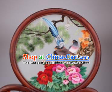 Chinese Traditional Suzhou Embroidery Peony Birds Desk Folding Screen Embroidered Rosewood Decoration Embroidering Craft