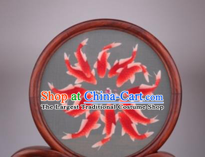 Chinese Traditional Suzhou Embroidery Red Carps Desk Folding Screen Embroidered Rosewood Decoration Embroidering Craft