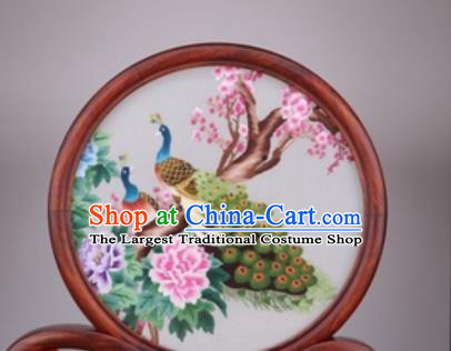 Chinese Traditional Suzhou Embroidery Peacock Desk Folding Screen Embroidered Rosewood Decoration Embroidering Craft