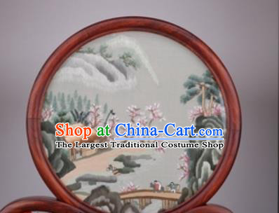 Chinese Traditional Suzhou Embroidery Desk Folding Screen Embroidered Rosewood Decoration Embroidering Craft