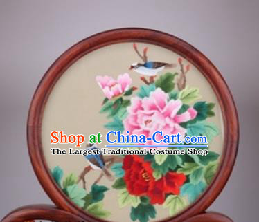 Chinese Traditional Suzhou Embroidery Peony Desk Folding Screen Embroidered Rosewood Decoration Embroidering Craft