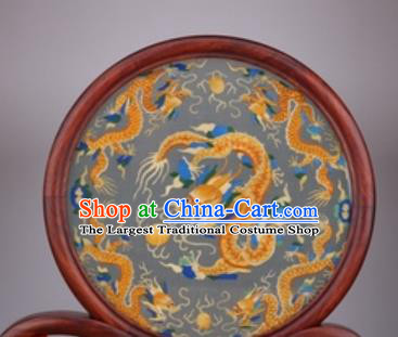Chinese Traditional Suzhou Embroidery Golden Dragon Desk Folding Screen Embroidered Rosewood Decoration Embroidering Craft