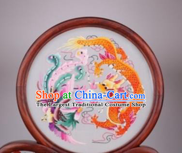 Chinese Traditional Suzhou Embroidery Dragon Phoenix Desk Folding Screen Embroidered Rosewood Decoration Embroidering Craft
