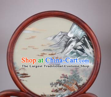 Chinese Traditional Suzhou Embroidery Ships Desk Folding Screen Embroidered Rosewood Decoration Embroidering Craft