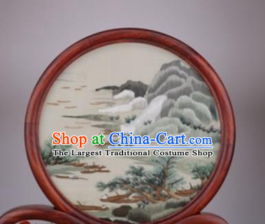 Chinese Traditional Suzhou Embroidery Mount Pine Desk Folding Screen Embroidered Rosewood Decoration Embroidering Craft