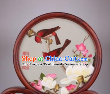Chinese Traditional Suzhou Embroidery White Magnolia Desk Folding Screen Embroidered Rosewood Decoration Embroidering Craft