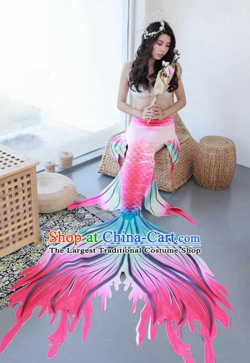 Halloween Cosplay Mermaid Fishtail Dress Nylon Pink Fish Tail Skirt Clothing for Women