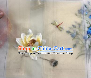 Chinese Traditional Suzhou Embroidery Dragonfly Lotus Cloth Accessories Embroidered Patches Embroidering Craft
