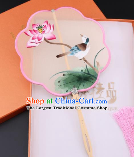 Chinese Traditional Suzhou Embroidery Lotus Palace Fans Embroidered Fans Embroidering Craft