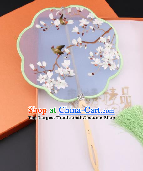 Chinese Traditional Suzhou Embroidery Magnolia Palace Fans Embroidered Fans Embroidering Craft