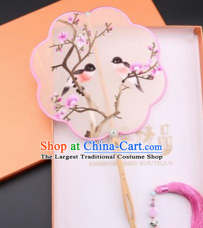 Chinese Traditional Suzhou Embroidery Plum Birds Palace Fans Embroidered Fans Embroidering Craft