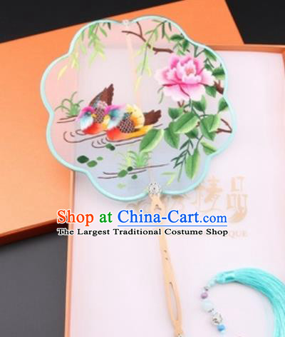 Chinese Traditional Suzhou Embroidery Mandarin Duck Peony Palace Fans Embroidered Fans Embroidering Craft