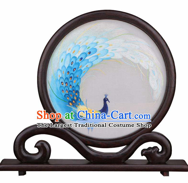 Chinese Traditional Suzhou Embroidery Blue Peacock Desk Folding Screen Embroidered Rosewood Decoration Embroidering Craft