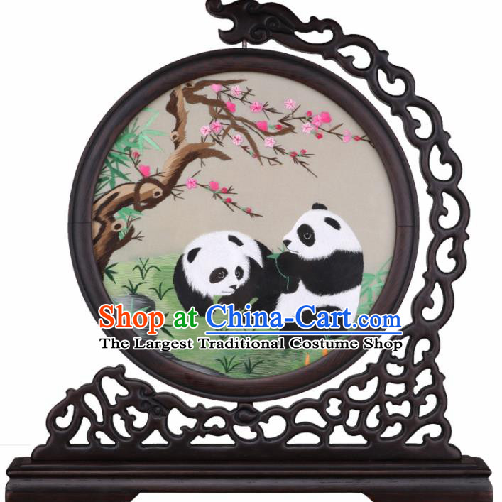 Chinese Traditional Suzhou Embroidery Panda Table Folding Screen Embroidered Rosewood Decoration Embroidering Craft