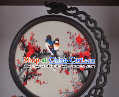 Chinese Traditional Suzhou Embroidery Plum Table Folding Screen Embroidered Rosewood Decoration Embroidering Craft