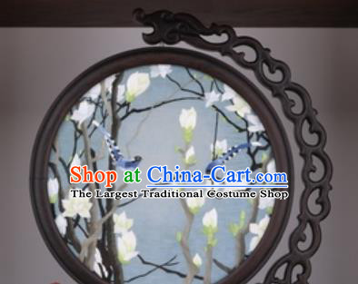 Chinese Traditional Suzhou Embroidery Magnolia Table Folding Screen Embroidered Rosewood Decoration Embroidering Craft