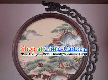 Chinese Traditional Suzhou Embroidery Pine Table Folding Screen Embroidered Rosewood Decoration Embroidering Craft