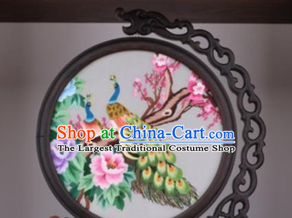 Chinese Traditional Suzhou Embroidery Peacock Peony Table Folding Screen Embroidered Rosewood Decoration Embroidering Craft