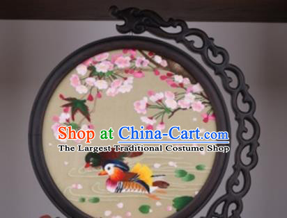 Chinese Traditional Suzhou Embroidery Begonia Mandarin Duck Table Folding Screen Embroidered Rosewood Decoration Embroidering Craft
