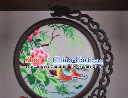 Chinese Traditional Suzhou Embroidery Mandarin Duck Peony Table Folding Screen Embroidered Rosewood Decoration Embroidering Craft