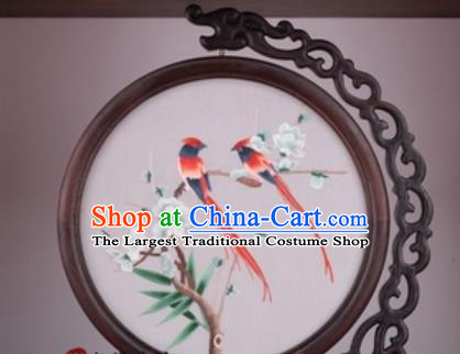 Chinese Traditional Suzhou Embroidery Plum Birds Table Folding Screen Embroidered Rosewood Decoration Embroidering Craft