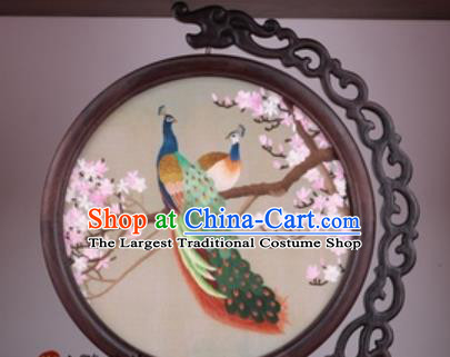 Chinese Traditional Suzhou Embroidery Plum Peacock Table Folding Screen Embroidered Rosewood Decoration Embroidering Craft
