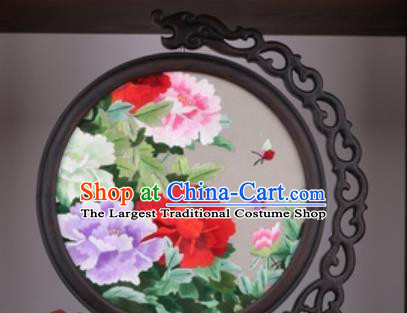Chinese Traditional Suzhou Embroidery Peony Table Folding Screen Embroidered Rosewood Decoration Embroidering Craft