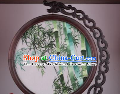 Chinese Traditional Suzhou Embroidery Bamboo Table Folding Screen Embroidered Rosewood Decoration Embroidering Craft