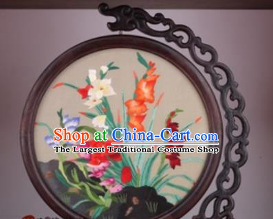 Chinese Traditional Suzhou Embroidery Orchid Table Folding Screen Embroidered Rosewood Decoration Embroidering Craft