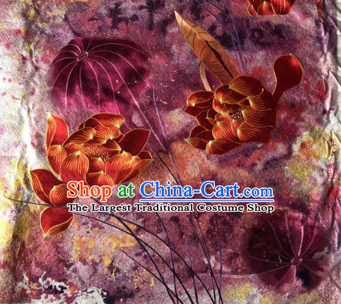 Chinese Traditional Suzhou Embroidery Red Lotus Silk Picture Embroidered Patches Embroidering Craft