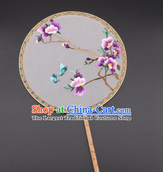 Chinese Traditional Suzhou Embroidery Purple Plum Palace Fans Embroidered Silk Round Fans Embroidery Craft