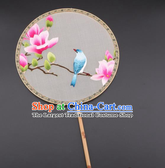Chinese Traditional Suzhou Embroidery Pink Magnolia Palace Fans Embroidered Silk Round Fans Embroidery Craft