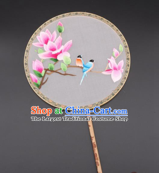 Chinese Traditional Suzhou Embroidery Pink Magnolia Birds Palace Fans Embroidered Silk Round Fans Embroidery Craft