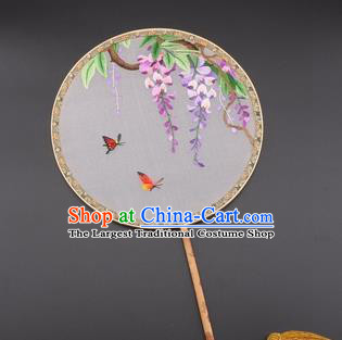 Chinese Traditional Suzhou Embroidery Wisteria Palace Fans Embroidered Silk Round Fans Embroidery Craft