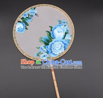 Chinese Traditional Suzhou Embroidery Blue Peony Palace Fans Embroidered Silk Round Fans Embroidery Craft