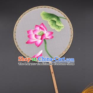 Chinese Traditional Suzhou Embroidery Lotus Palace Fans Embroidered Silk Round Fans Embroidery Craft