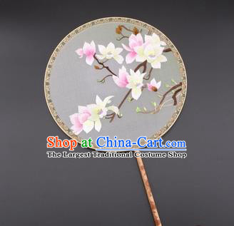 Chinese Traditional Suzhou Embroidery Magnolia Palace Fans Embroidered Silk Round Fans Embroidery Craft