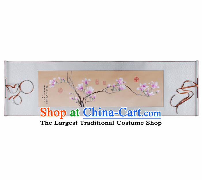 Traditional Chinese Handmade Suzhou Embroidery Yulan Magnolia Wall Picture Embroidered Scroll Embroidery Craft