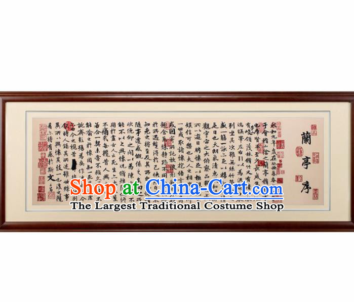 Traditional Chinese Handmade Suzhou Embroidery Calligraphy Orchid Pavilion Preface Wall Picture Embroidered Scroll Embroidery Craft