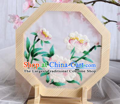 Chinese Traditional Suzhou Embroidery Peony Decoration Embroidered Craft