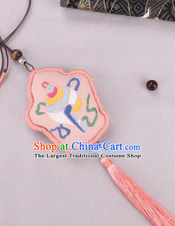Traditional Chinese Handmade Embroidery Pink Hazelin Pendant Embroidered Amulet Accessories